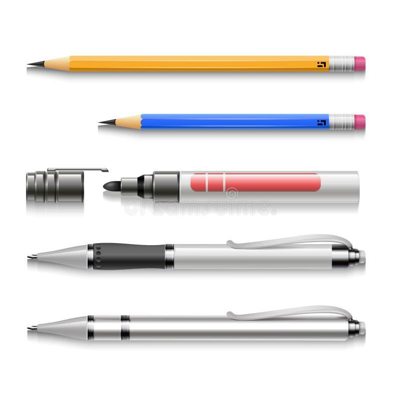 Penne, matite, indicatori, insieme realistico di vettore degli strumenti di scrittura illustrazione di stock
