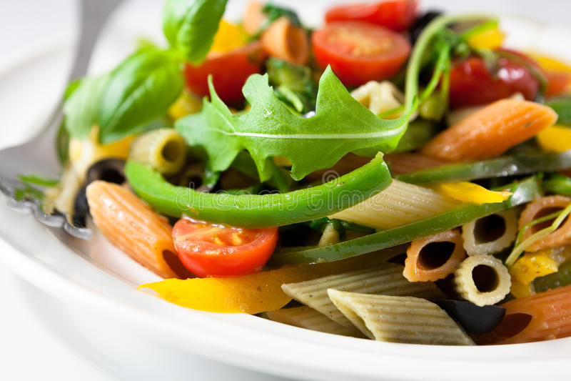Penne pasta with vegetables royalty free stock image