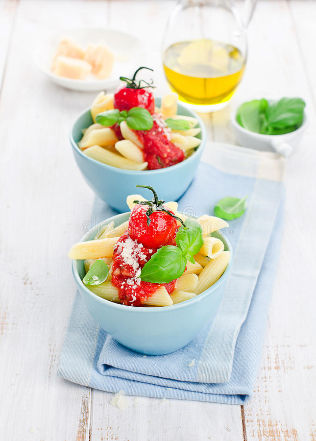 Penne with tomato sauce royalty free stock image