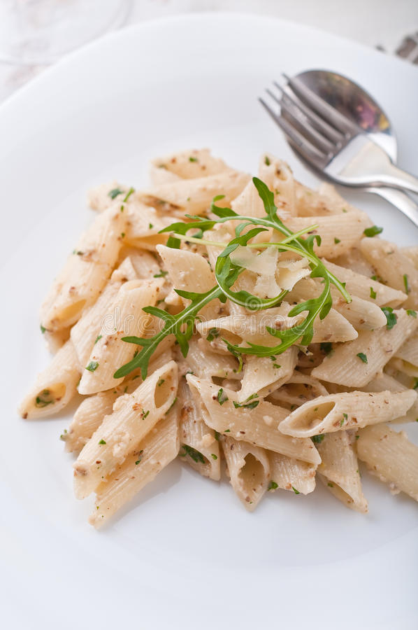Penne with walnut pesto royalty free stock images