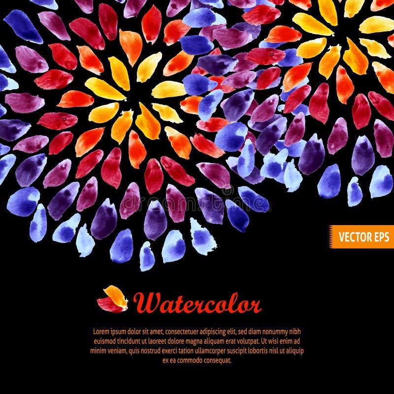 Pennellate variopinte dell'arcobaleno del modello dell'acquerello illustrazione di stock