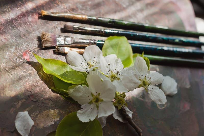 Pennelli di arte, gamma di colori, fiore fotografia stock libera da diritti