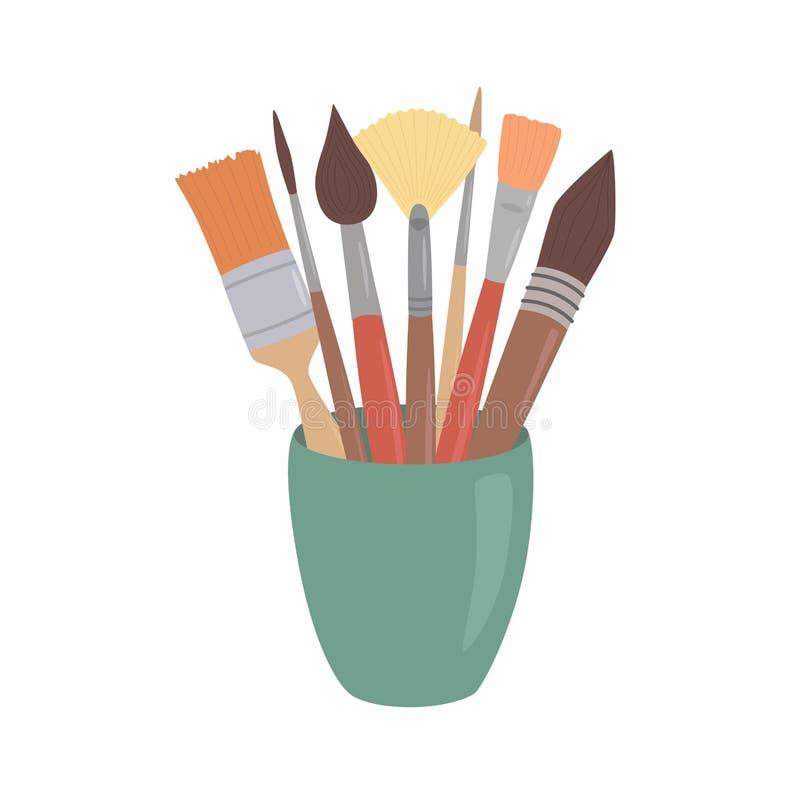 Pennelli in tazza Elemento di progettazione di stile del fumetto per il workplaceeinterior dell'artista, classe di scuola, deskto royalty illustrazione gratis