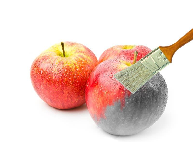 pennello che dipinge una mela bagnata rossa fresca che è parzialmente in bianco e nero e colorata parzialmente fotografia stock libera da diritti
