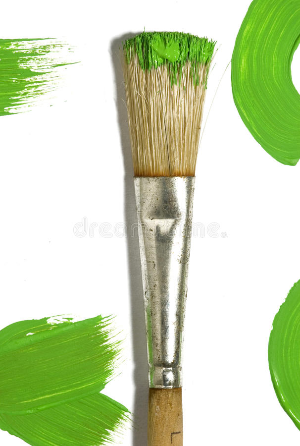 Pennello con la pittura di colore fotografia stock libera da diritti