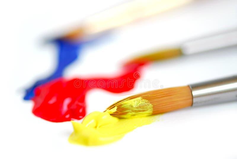 Pennello di colori primari fotografia stock
