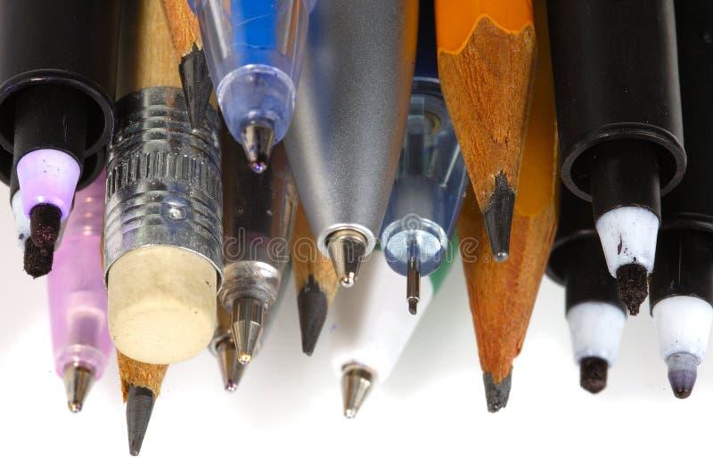Pennen en potloden 3 stock foto