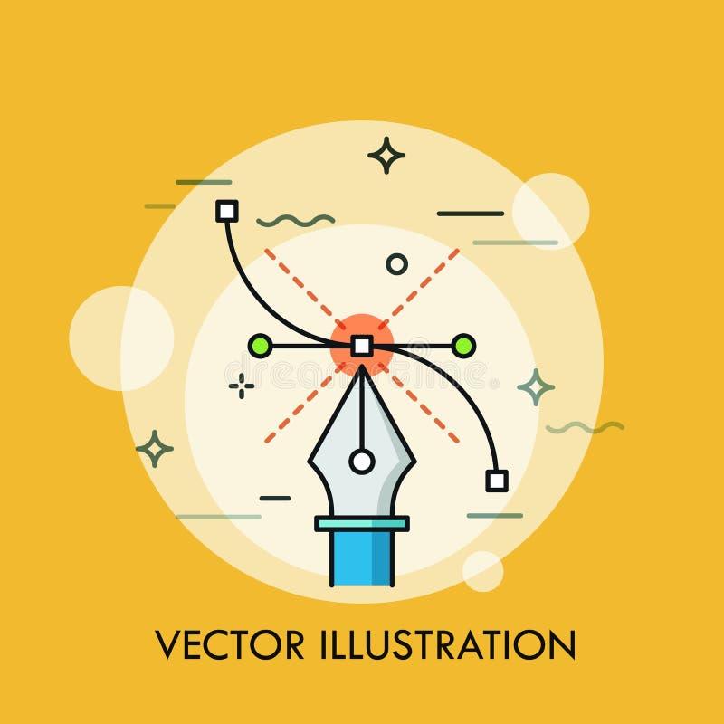 Pennhjälpmedel och Bezier kurva Begrepp av modern programvara för att skapa vektorillustrationer, diagrammet, rengöringsduk och d royaltyfri illustrationer