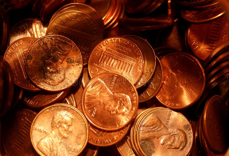 Pennies royalty free stock images