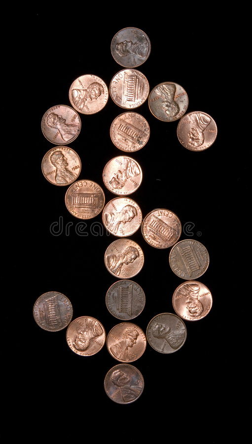 Pennies Dollar Sign. Pennies layed out in the shape of a dollar sign stock photography