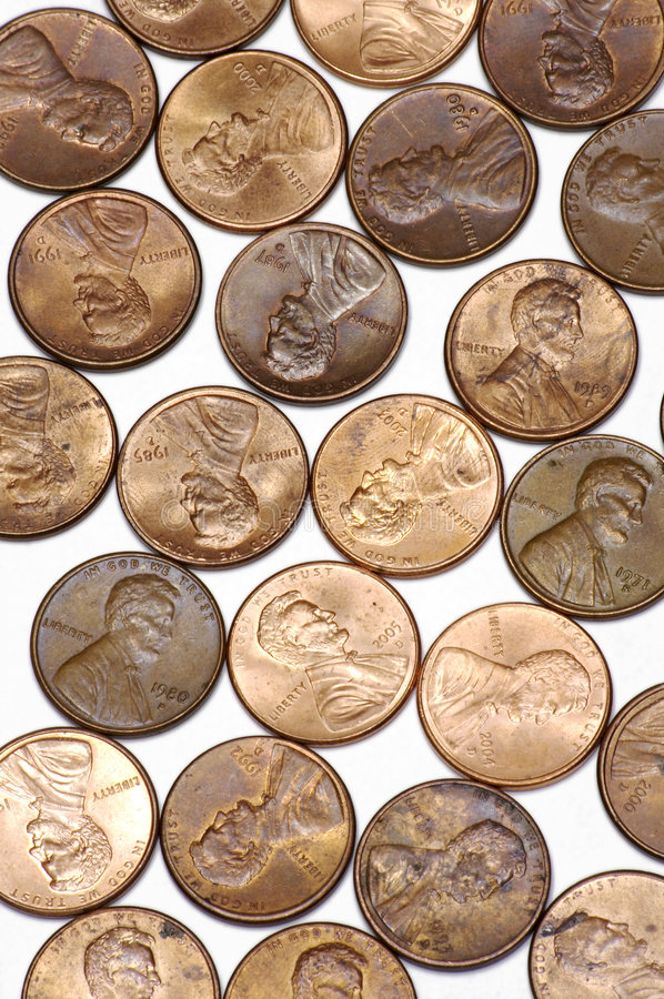 Free Pennies On White Background Stock Images - 628394