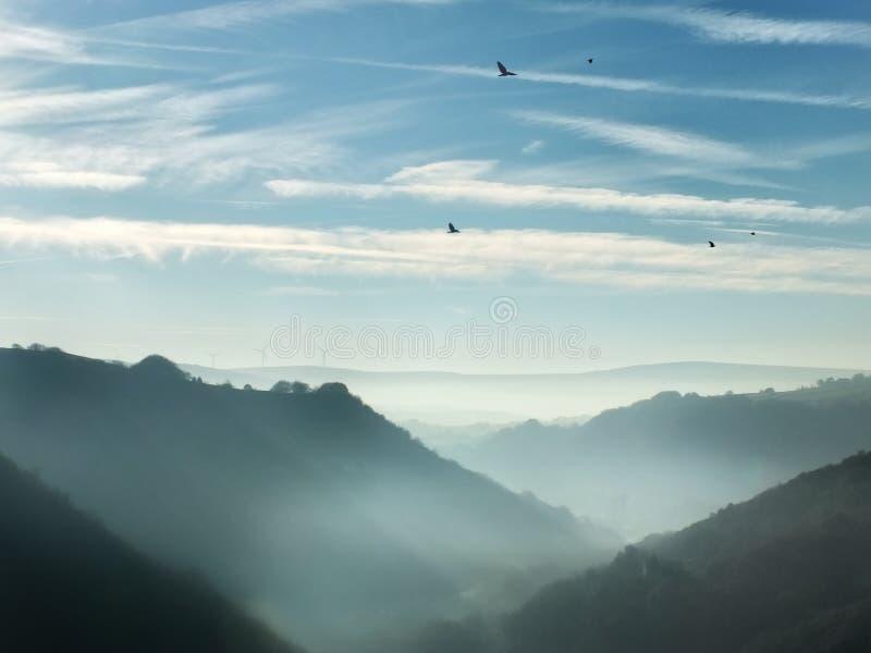 Pennine heuvels in de caldervallei Yorkshire met mist en kraaien royalty-vrije stock fotografie