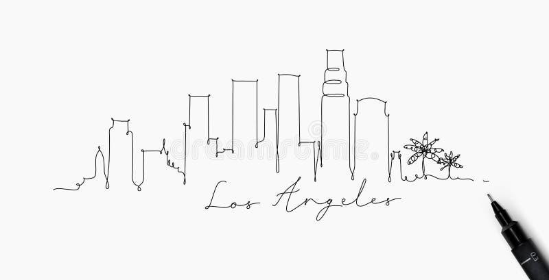 Pennlinje kontur Los Angeles vektor illustrationer