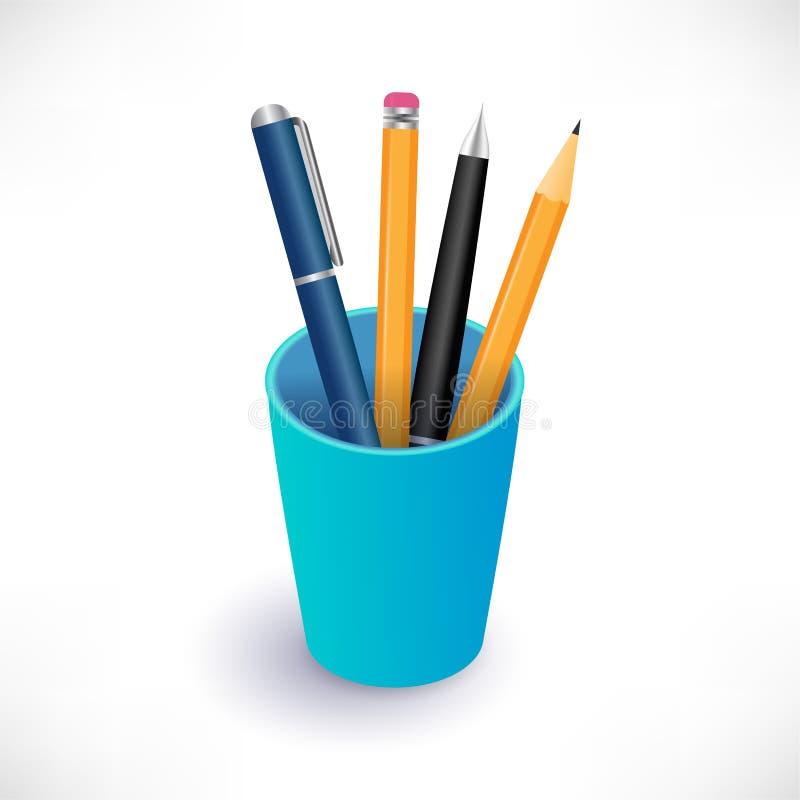 Pennor och blyertspennor i blå kopp stock illustrationer