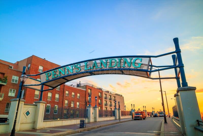 Penns Landungs- und Marktstraße in Philadelphia stockbilder
