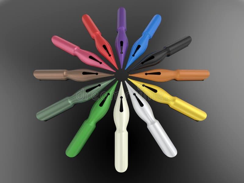 Pennspetsar - färgmångfaldbegrepp royaltyfri illustrationer