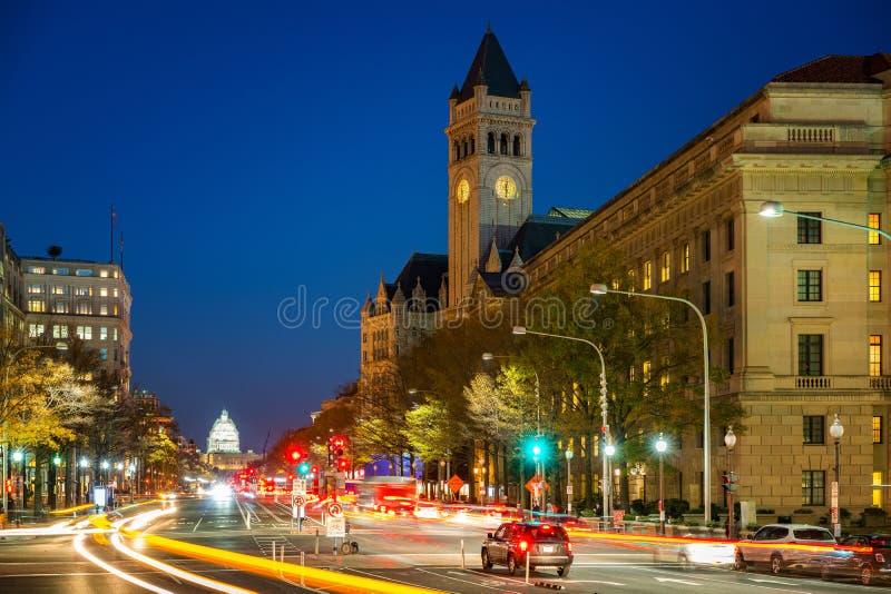 Pennsylvania-Allee nachts, Washington DC, USA lizenzfreies stockfoto