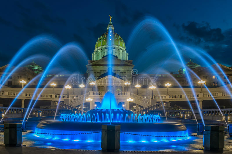 Pennsylvania capital building and fountain. Pennsylvania capital building in Harrisburg. Back side of the capital with the fountain in the foreground royalty free stock image