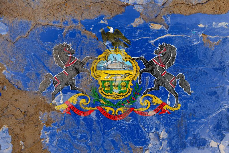 Pennsylvania damaged, scratch, old style state flag on wall. Pennsylvania grunge, damaged, scratch, old style state flag on wall royalty free stock photos