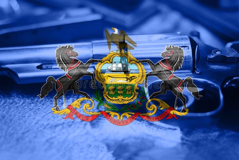 Pennsylvania flag U.S. state Gun Control USA. United States. Gun Laws stock images