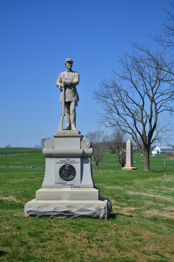 130. Pennsylvania-Infanterie-Monument - nationales Schlachtfeld Antietam, Maryland stockfotos