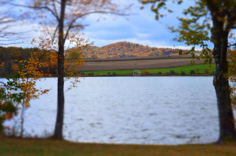 Pennsylvania by the lake on an autumn day in October royalty free stock photos