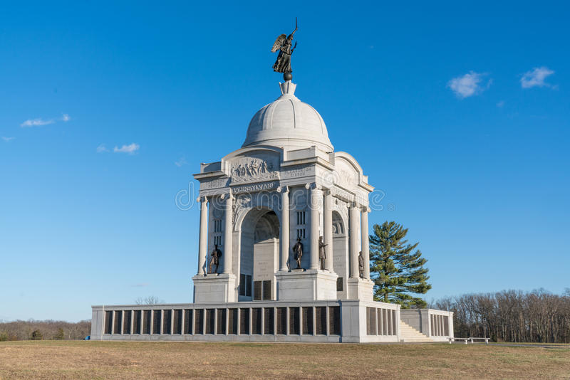 Pennsylvania Monument at Gettysburg National Battlefield. Monument dedicated to the Union soldiers of Pennsylvania at Gettysburg National Battlefield stock photography