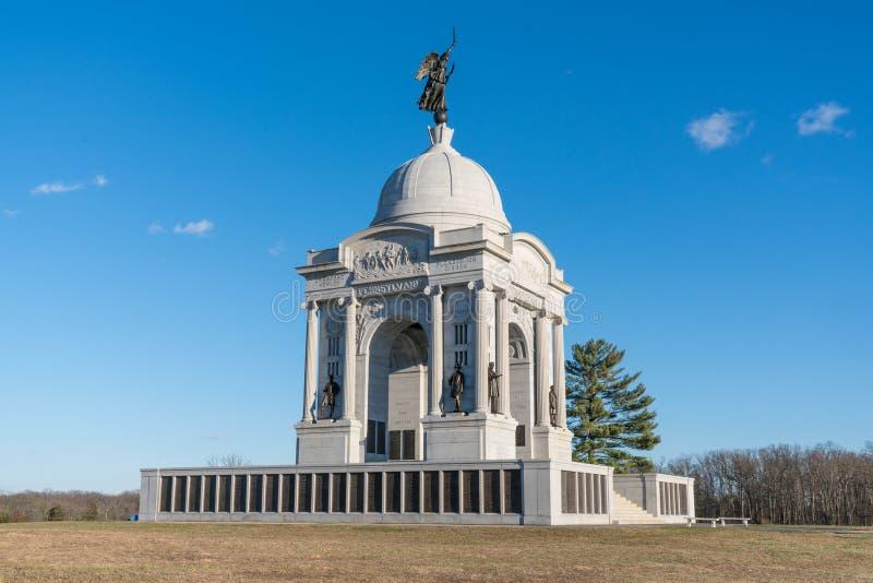 Pennsylvania monument på den Gettysburg medborgareslagfältet arkivbild