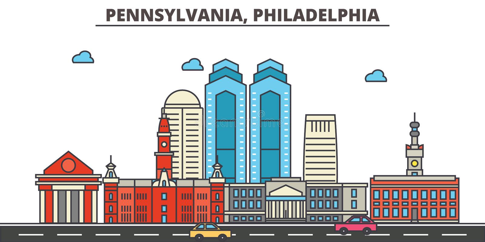 Pennsylvania, Philadelphia De Horizon van de stad royalty-vrije illustratie
