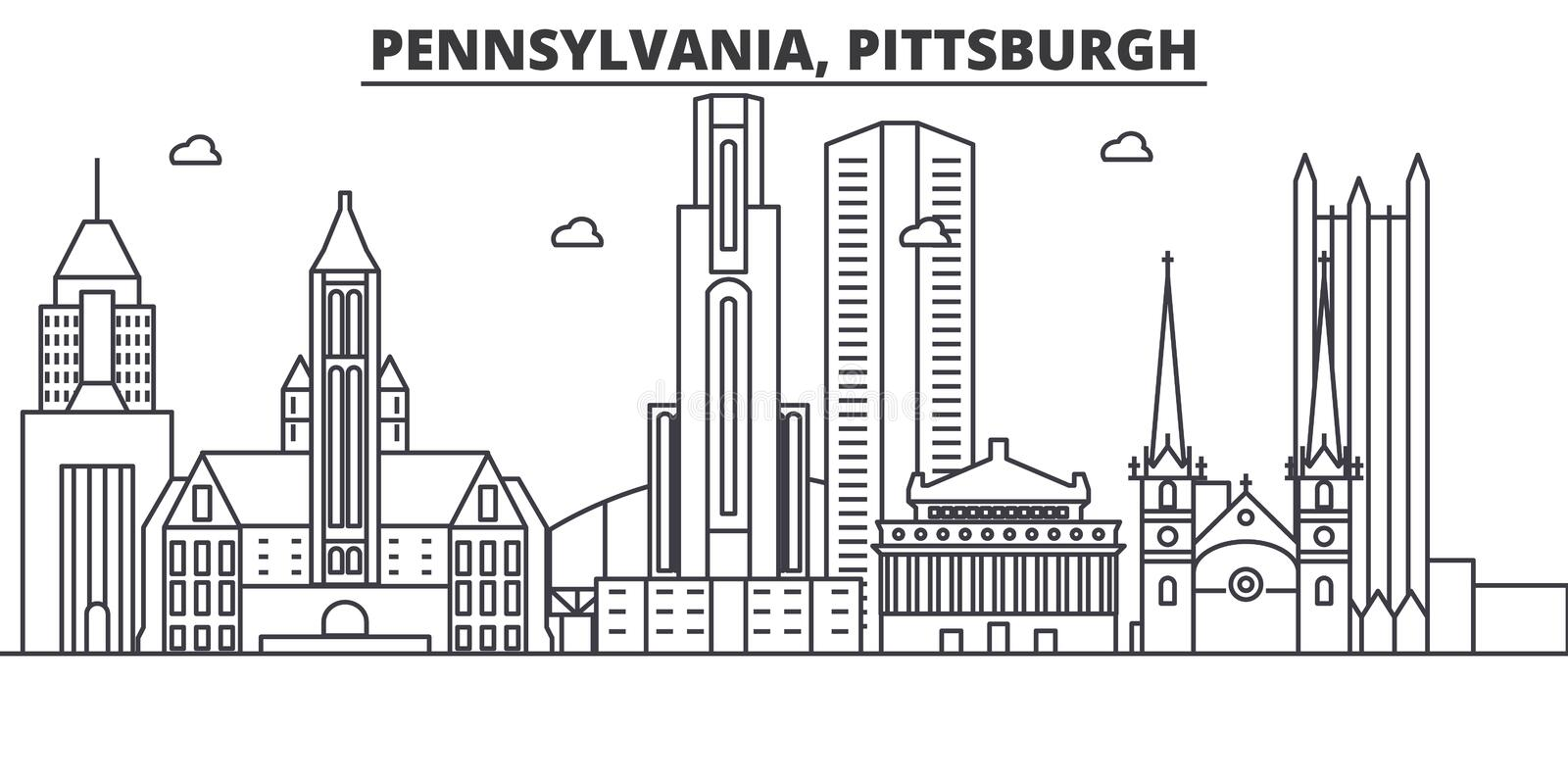 Pennsylvania Pittsburgh architecture line skyline illustration. Linear vector cityscape with famous landmarks, cit stock illustration
