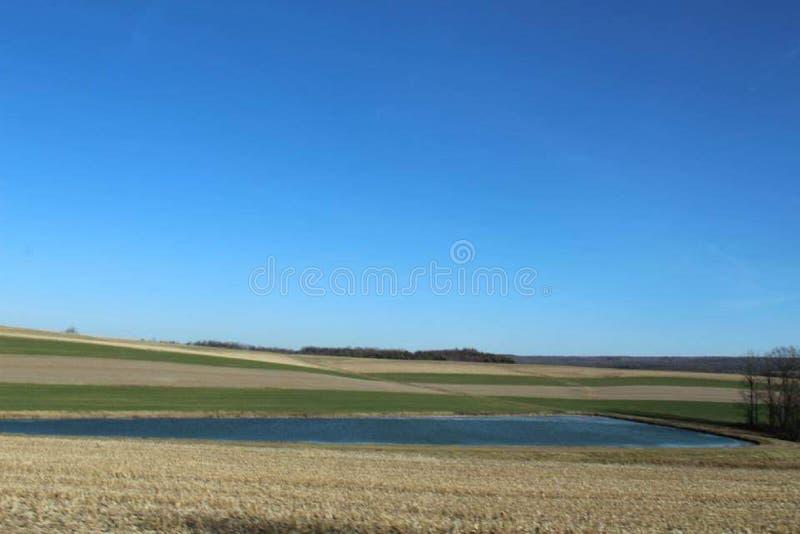 Pennsylvania Scenery Pond Blue Sky fotografia stock libera da diritti
