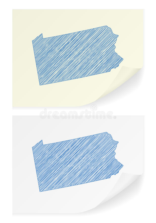 Pennsylvania scribble map royalty free illustration
