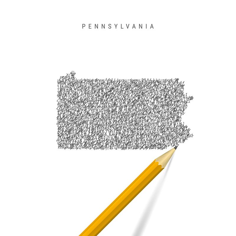 Pennsylvania sketch scribble map isolated on white background. Hand drawn vector map of Pennsylvania royalty free illustration