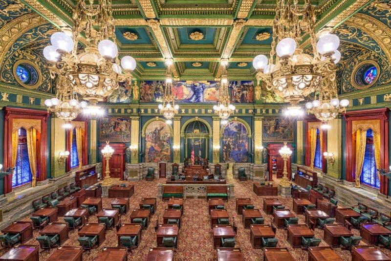Pennsylvania State Capito. HARRISBURG, PENNSYLVANIA - NOVEMBER 23, 2016: The Chamber of the House of Representatives in the Pennsylvania State Capitol stock images