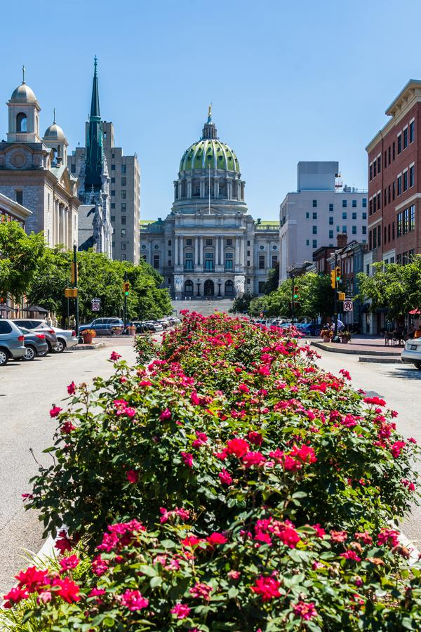 The Pennsylvania State Capitol Building From State Street in Harrisburg, Pennsylvania royalty free stock images