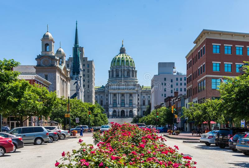 The Pennsylvania State Capitol Building From State Street in Harrisburg, Pennsylvania stock photos