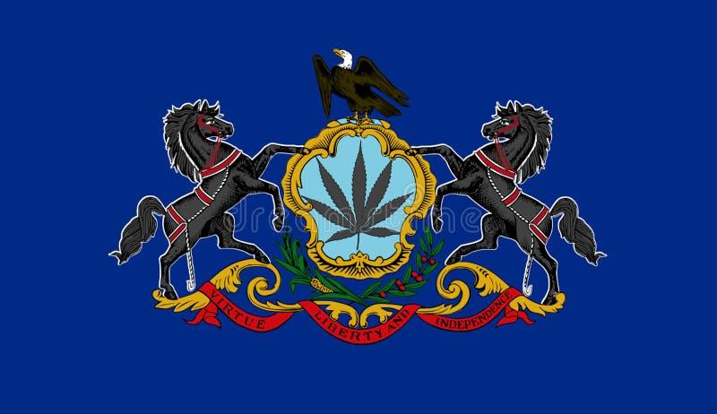 Pennsylvania state flag with marijuana leaf royalty free illustration