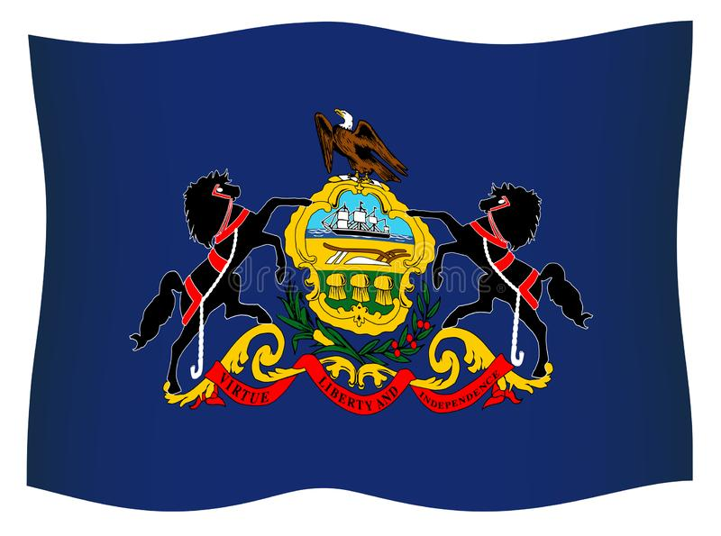 Pennsylvania State Flag Waving In The Wind vector illustration