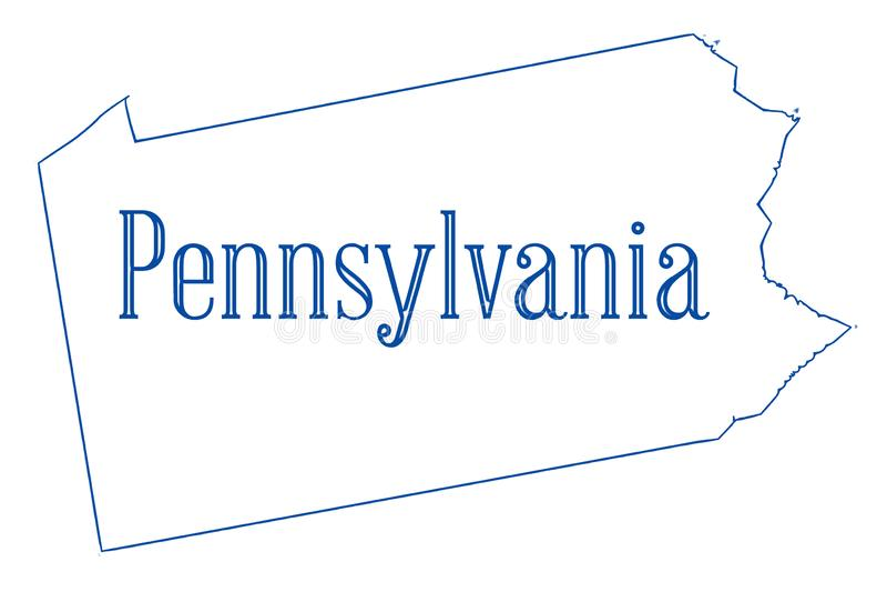 Pennsylvania State Outline Map vector illustration