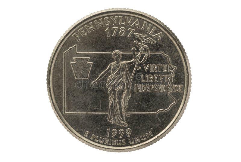 Pennsylvania State Quarter Coin. Pennsylvania state commemorative quarter coin isolated on white background stock photo