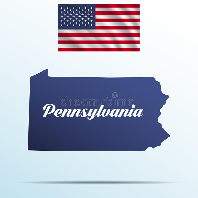 Pennsylvania state with shadow with USA waving flag royalty free illustration