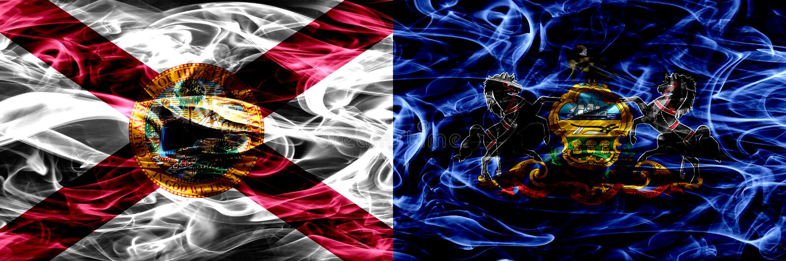 Pennsylvania state smoke flag, United States Of America.  royalty free stock images