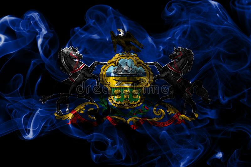 Pennsylvania state smoke flag, United States Of America. On a black background royalty free stock photos