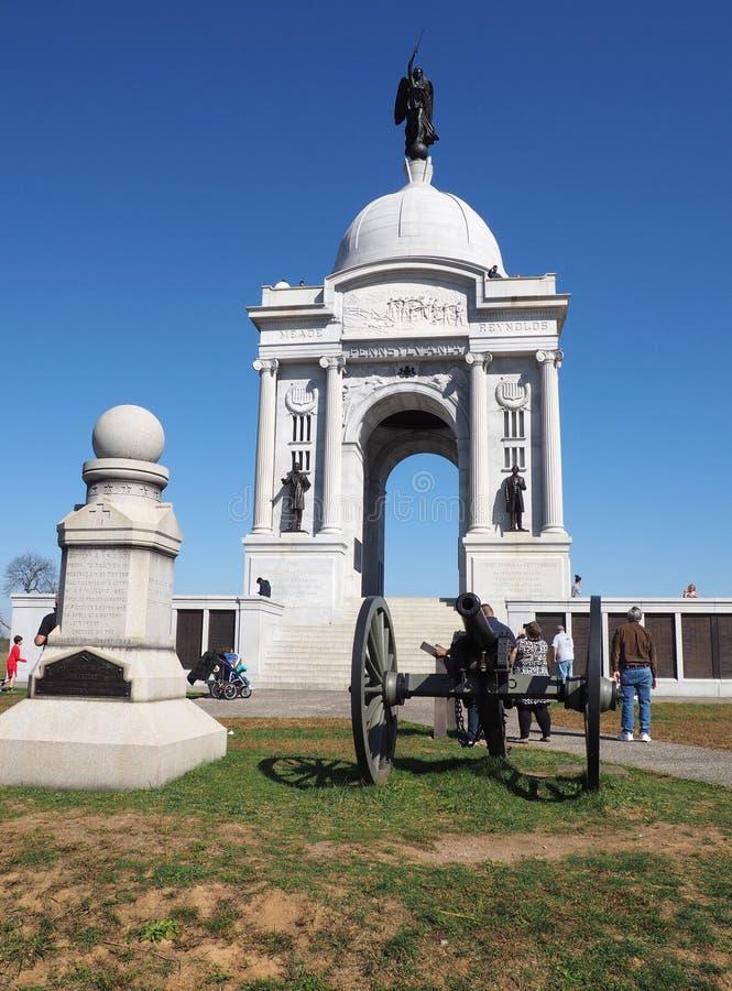 Pennsylvania statminnesmärke på den Gettysburg slagfältet arkivfoton