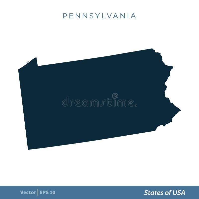 Pennsylvania - tillstånd av designen för illustration för mall för vektor för USA-översiktssymbol Vektor EPS 10 vektor illustrationer
