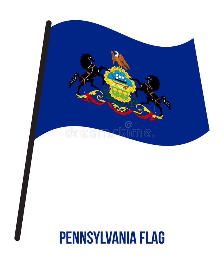 Pennsylvania U.S. State Flag Waving Vector Illustration on White Background royalty free illustration