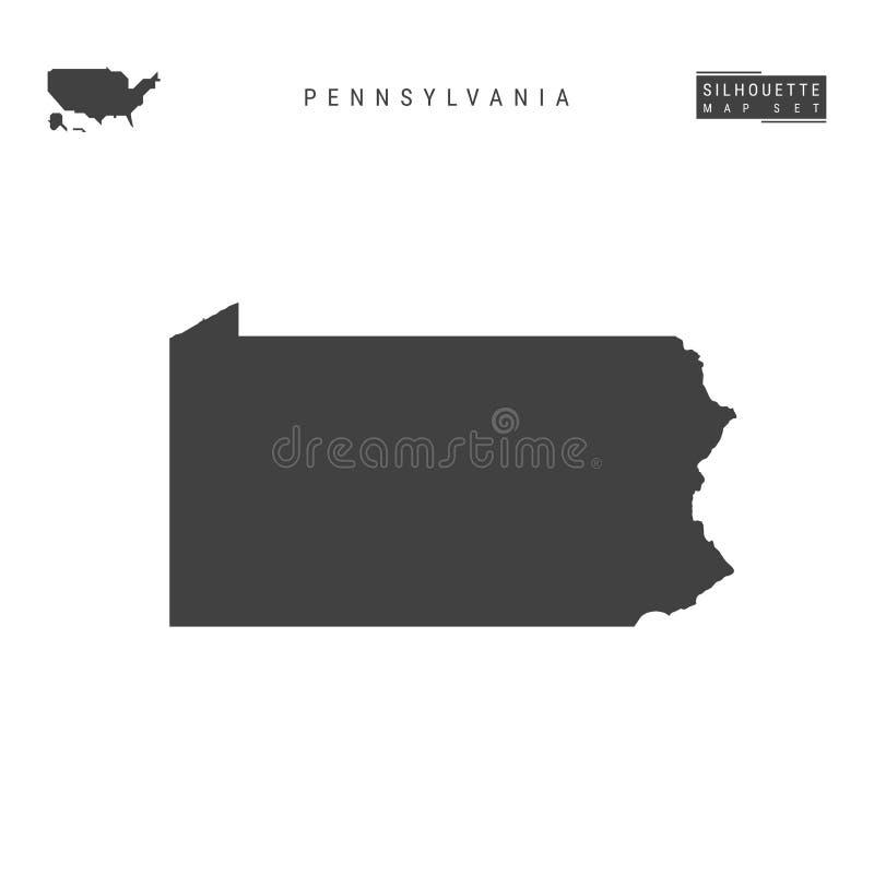 Pennsylvania USA påstår vektoröversikten som isoleras på vit bakgrund Hög-specificerad svart konturöversikt av Pennsylvania stock illustrationer