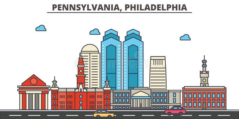Pennsylwania, Filadelfia tła miasta projekta linia horyzontu wektor twój royalty ilustracja