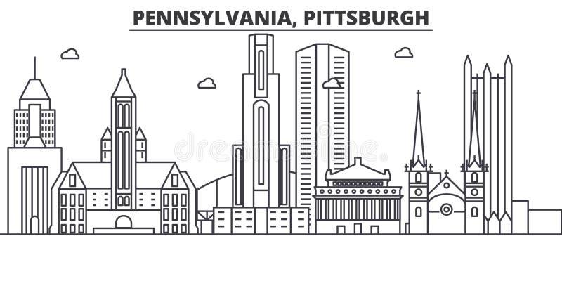 Pennsylwania Pittsburgh architektury linii linii horyzontu ilustracja Liniowy wektorowy pejzaż miejski z sławnymi punktami zwrotn ilustracji