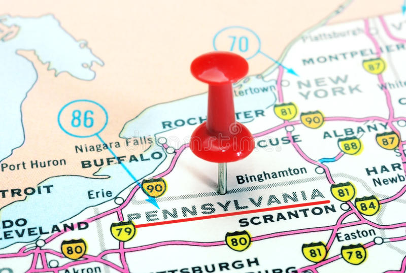 Pennsylwania stanu usa mapa zdjęcie stock